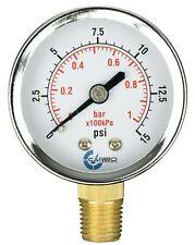 2 Pressure Gauge Chrome Plated Steel Case 14 Npt Lower Mnt 15 Psi