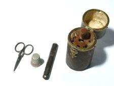 Antique Sewing Etui Set Scissors Thimble Needle Case A/F Restoration Proj
