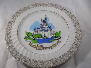 "Vintage Walt Disney World Plate Productions Castle Gold Trim Collector 10"" Japan"