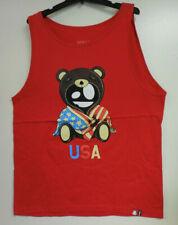 Entree LS Mens Sleeveless Shirt Red Bear USA with Logo Size XXL