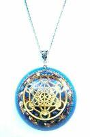 Necklet Orgone Orgonite pendant Metatron Cube, 24K Gold, Lapis Lazuli.Chakra,