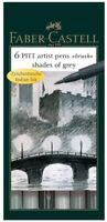 Faber Castell Pitt Artist Pens Shades of Grey Gray Color Set 6 Markers Brush Tip
