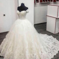 Luxury White/ivory Lace Wedding dress Off Shoulder Bridal Gown Custom All Size