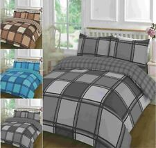 Luxuries LOGAN Check Printed Duvet Quilt Cover+Pillow Case Bedding Set All Size
