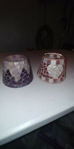 Home interiors glass mosaic candle shades