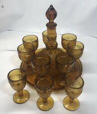 Vintage Amber Tierra Decanter Set with Tray and 7 Cordials With 3 Bonus Cordials