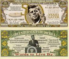 President John F. Kennedy - 50th Year Memorial Million Dollar Novelty Money
