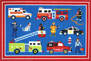 3x5 Rug Educational Kids Heroes Hero America FireTruck Fireman Nurse Police Blue