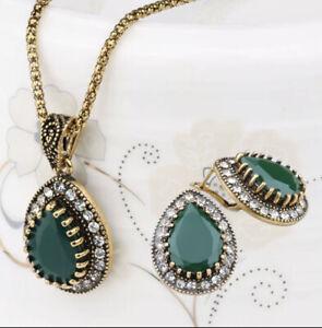 Horam Sultan Turkish Jewelry Sets Earrings/neck Crystal Vintage