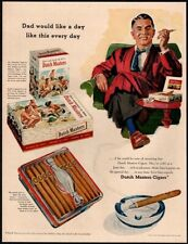 1956 DUTCH MASTERS Cigars - Dad Smoking - Robe - Chair - Retro VINTAGE AD