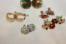 Lot of 5 Pair Vintage Screw Back Earrings rhinestone, flowers, gold, silver