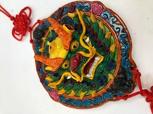 """Vintage 7"""" Cast Resin Multicolor Asian China Dragon Lucky Knot 龙幸运结 Wall Art"""