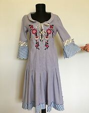 Odd Molly #222 Striped Cotton Dress With Floral Embroidery, Size:2