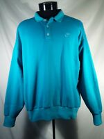 Vtg Nike Sweatshirt Polo Grey Tag Blue Men's Size Large