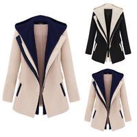 Women Work Suit Long Sleeve Removable Hooded Coat Jacket Formal Blazer Tops Plus