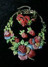 Giant Red Rose & Multi Color Rhinestone Necklace Bracelet & Earring Set