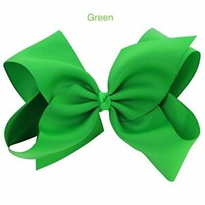 """6"""" Green Hair Bows Jojo Style Clip Large for Girls Teens Kids School Dance Party"""