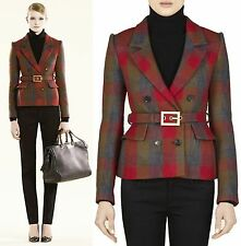 $2,550 GUCCI Plaid Check Wool Belted Jacket Suit Coat Blazer 4 40 Women Lady NWT