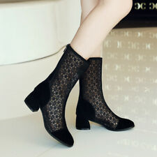 Womens New  Fashion Hallow Out Round Toes Block Heel Zip Ankle Boots Shoes Super