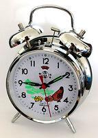 réveil mécanique motif poule métal ARGENTE horloge cadeau manuel cadran 10 cm