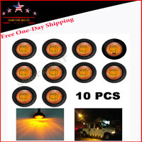 "10x Amber 3/4"" Mini 3LED Round Truck Traile Side Clearance Marker Bullet Light"
