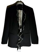 New Size Med Zara Woman Black Formal Ruffle Open Front Lined Jacket Blazer Coat