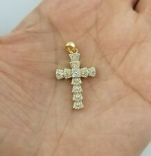 14k Yellow Gold Women Crystals Cross Charm Pendant