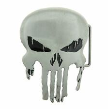 Metal Belt Buckle Punisher Skull Antique Silver