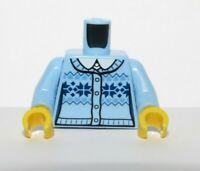 Lego  Body Torso For Female Girl  Minifigure Light Blue Cardigan Sweater