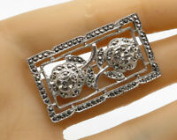 925 Sterling Silver - Vintage Marcasite Floral Bar Brooch Pin - BP1449