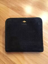 Fossil Mini Suede Leather Clutch Wallet Bilfold Black Rugged