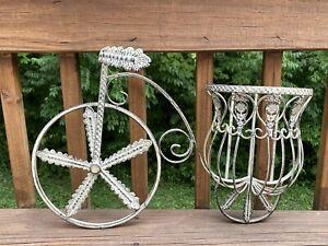 Rustic Wrought Iron Wall Hanging Basket Planter Bike Bicycle Planter Flower Pot