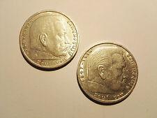 2x LOT   5 MARK   DEUTSCHES REICH   HINDENBURG   1935 & 1936   SILVER