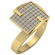 Yellow Gold Prong Set Sz 4-12 0.60Ct Right Hand Anniversary Round Diamond Ring