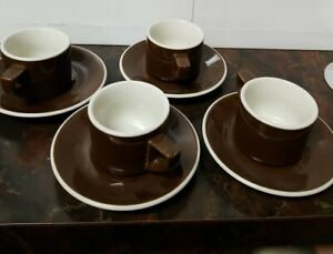 4 ACF Italy Brown & White Espresso / Demitasse Cup & Saucer Sets - 8 Mint Pieces