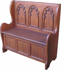 Solid Mahogany Gothic Settle / Storage Bench H92 x W92 x D40 cm NEW BN004
