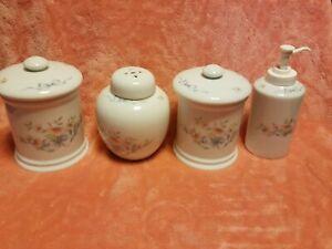 Princess House Exclusive Floral Ribbon Porcelain Bathroom Set of 4 Vintage EUC