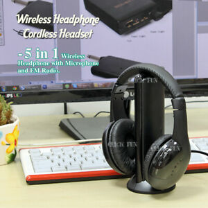 5 in 1 Wireless Headphones Earphones MP3 PC Stereo TV CD Cordless FM Radio ipod