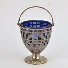 Sucrier Anglais en verre cobalt monture en métal argenté