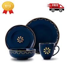 M-MAX Dinnerware Set Durable Ceramic Dinner Plate Sets, Plates, Bowls, Mugs, Blu