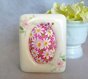 Repurposed Hand Painted Porcelain Picture Photo Frame Pincushion Pink Daisies