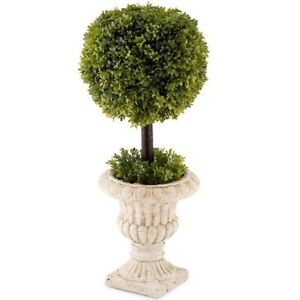 Faux Artificial French Topiary Ball Stemmed Plant In Pot