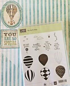 Stampin Up Up Up & Away Clear Mount Rubber Stamps Birthday Hot Air Balloons