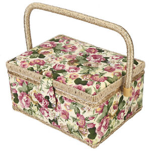 Exquisite Craft Sewing Tool Needle Thread Basket Fabric Storage Box (Rose) NEW