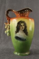 """Antique Porcelain AUSTRIA Portrait Vase Pitcher 8"""" Orange & Green Gold Trim"""