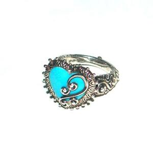 Barbara Bixby Turquoise Heart Engraved Sterling Silver .925 Ring Size 8.5
