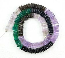 198.10cts Natural Amethyst Onyx Smoky Spinel Smooth Square Flat Beads 15.5 inch