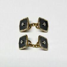 Art Deco 18K Gold & Platinum Diamond Cuff Links