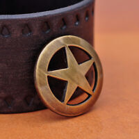 10pc Western Texas Ranger Star Rivetback Leathercraft Belt Concho Brass Plate