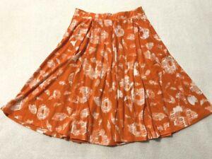 Lularoe XS Orange White Abstract Floral Madison Skirt Slinky Pleated Pockets